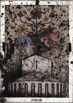 作家名 今村由男 題名  サダルの聖夜 技法  銅版 エッチング・アクアチント・木版・箔 サイズ 18.5 X 13cm