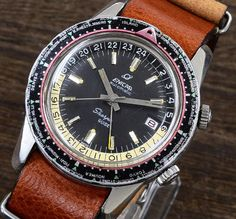 RARE! Vintage ENICAR Sherpa GIDE World time GMT Automatic 1960 #ENICAR