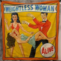 "Circus Carnival Side Show Banners Canvas Weightless Woman Snap Wyatt 91"" by 88"" 