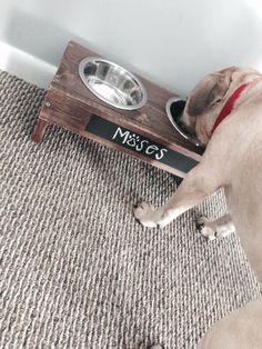 Wooden Chalkboard Dog Bowl by EdgewaterMarketplace on Etsy https://www.etsy.com/listing/207110687/wooden-chalkboard-dog-bowl