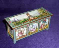It is signed - Leslie Lassige (that's me!). and dated on the bottom of the piece. Dollhouse Miniature Beatrix Potter Blanket Chest. The front features Timothy Tiptoes, Jemima Puddle-Duck, and Benjamin Bunny, left side Tom Kitten, right side Hunca Munca, and the top Peter Rabbit. | eBay!
