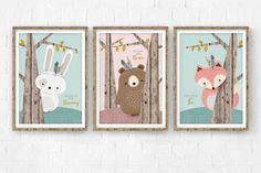 Woodlands Nursery, Nursery print set of 3, Forest Friends, Woodland creature, Rustic nursery set, Nursery Art, Nursery Forest Decor, Giclee. ❥ ❥ ❥ ❥ ❥ See our shop announcement for current coupons and deals ❥ ❥ ❥ ❥ ❥ ❥ Be right on trend with this beautiful and genuine handmade woodlands nursery print set featuring 3 adorable forest friends - a white bunny on a mint background, a brown bear on a pink background, and a pink fox on a mint Background, peeking from rustic wood texture and faux…