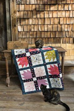 """Cat's Paw Quilt Kit Bear Paw blocks turn into cat paws using Sarah Watts' directions and fabrics from her Cat Lady collection for Cotton + Steel. Kit has pattern with directions by Sarah Watts and fabrics for the top and binding.  • Quilt Designer: Sarah Watts of Cotton + Steel  • Quilt Size: Throw 68"""" x 68  • Quilt Project: Pieced"""