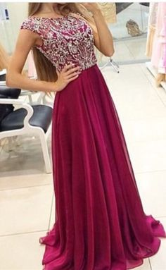 Burgundy Prom Dresses Cap Sleeves Top Beading Chiffon A-Line Prom Dresses 2016