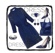Long sleeves navy dress by amisha73 on Polyvore featuring moda, Diane Von Furstenberg, RALPH & RUSSO, CARAT* and NOVICA