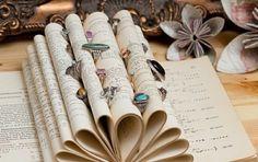 fabriquer un porte bijoux soi meme, des feuilles de livre pliés pour faire un range bague original