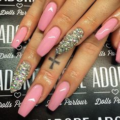 Hot Pink Coffin Acrylic Nails w/ Rhinestones