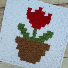 This is a free crochet pattern for how-to make my Potted Tulip Square! 5 pillow sizes available. Ravelry Crochet, C2c Crochet, Crochet Squares, Double Crochet, Single Crochet, Crochet Hooks, Free Crochet, Crochet Patterns For Beginners, Easy Crochet Patterns