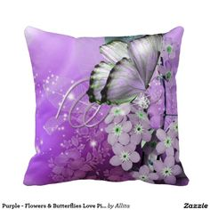 Purple - Flowers & Butterflies Love Pillow