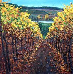 Fall Vineyard - Season's Series, painting by artist Jennifer Vranes Project Ideas, Art Projects, Tuscan Art, Beautiful Paintings, Painting Inspiration, Still Life, Vineyard, Landscapes, Inspire