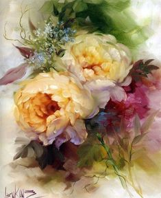 Ramos de rosas y Gary Jenkins. Arte Floral, Watercolor Flowers, Watercolor Paintings, Gary Jenkins, Decoupage, China Painting, Botanical Art, Art Oil, Flower Art