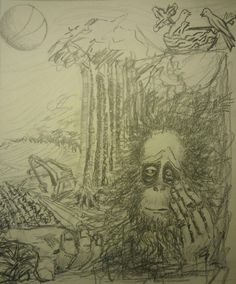"""Sketch for my painting """"The Last to See"""" on the theme of deforestation and corporate greed."""