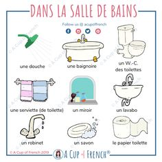 In the bathroom - French words French Language Basics, French Basics, French Language Lessons, French Language Learning, French Lessons, French Tips, Spanish Lessons, Spanish Language, Learning Spanish