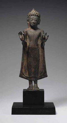 A bronze figure of Buddha Thailand, Mon Dvaravati Style, century 16 ¾ in. Laos, Worship Images, Art Thai, Standing Buddha, Buddha Life, Thailand Art, 3d Figures, Chart Design, Buddhist Art