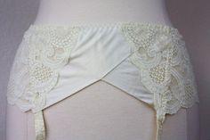 Sexy Ivory Garter Belt with Garters Medium Larger by Retromomo, $25.00