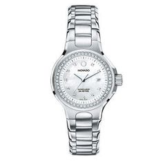 Ladies' Movado Series 800 Performance Watch with Mother-of-Pearl Dial and Diamond Accents (Model: 2600035) - Zales