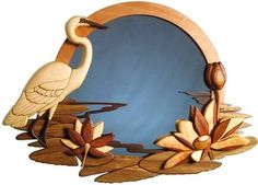 egret mirror intarsia woodworking