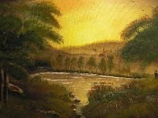 Sonnenuntergang im Solling / Oil on Canvas  painted by Nati Merlin