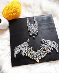 Black wooden Board with white and yellow Threads. Batman, Wool, Yellow, Nails, Board, Handmade, Diy, Do It Yourself, Ongles
