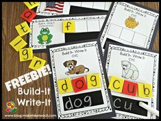 DIY Build-It Write It Cards. 28 FREE CVC and 12 FREE CVCC/CCVC.  Fun for centers or for small group instruction!