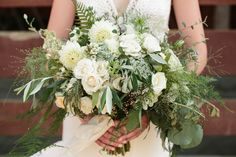 An organic, full bouquet recipe: olive branch, white dahlia, majolica rose, explosion grass, eucalyptus, plumosa fern, deer fern, wild carrot, heather, wax flower, cotoneaster, panicle hydrangea