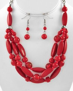 """New Fashion Burnished Silver Tone Multi Rows With Acrylic & Glass Beads In Red Necklace & Earring Set  NOT FOR CHILDREN UNDER 12  With No Tags  Size: Approximately 17"""" Long necklace with ext.            Earrings Hooks 1 3/4"""" Long                    Condition: New Never Worn  Free Del..."""