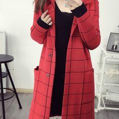 DRAPE IN VOGUE Red PolyesterTerylene Checked Coat