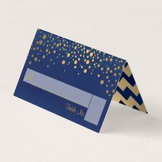 Navy Blue and Gold Chevron and Confetti Dots Place Card - elegant gifts gift ideas custom presents