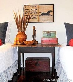 twin beds-ethnic style-Ethnic Chic How to Get It-Rough Luxe Lifestyle Decor, Furniture Design Modern, Eclectic Decor, Rough Luxe, Rustic Dining Chairs, Rustic Furniture, Country Furniture, Home Decor Furniture, Guest Bedroom Update