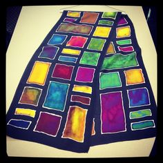 One of the beautiful silk scarfs from our Silk Scarf Painting Workshop. Join the next class session starting 5/18 here at The Community House, Birmingham, Mi. Call to register 248.644.5832 #silkscarf #handmade #thecommunityhouse #communityed