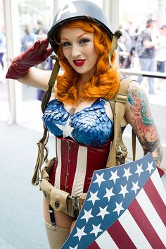 Beautifully detailed female Captain America cosplay at San Diego Comic Con 2013