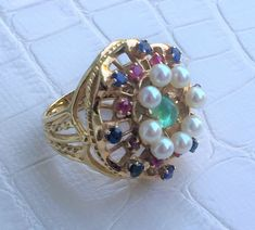 14K Ruby Sapphire Emerald & Pearl Domed Statement Ring, Huge Basket Style Gallery Setting, 10.6 grams, US Size 6