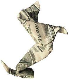 Dachshund origami money by ksrose Dollar Bill Origami, Money Origami, Origami Paper, Dollar Bills, Origami Gifts, Money Lei, Folding Money, Paper Folding, Dachshund Art