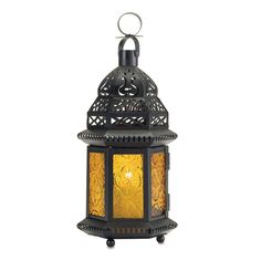 Candle Lantern Yellow Glass Candleholder Porch Patio Light In Out Candleholder…