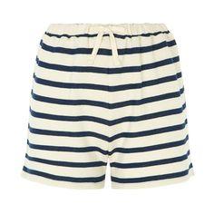 Savanna Loopback Shorts in Navy (39 CAD) ❤ liked on Polyvore featuring shorts, navy shorts, navy blue shorts, stripe shorts, striped shorts and long shorts