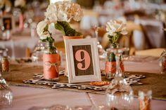 Burlap Wedding Table Numbers