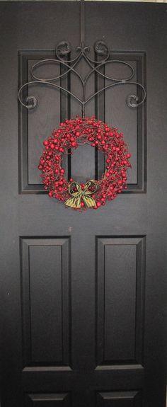 I love this wreath hanger!  Berry Wreath  Red Front Door Wreath   by EverBloomingOriginal, $59.00
