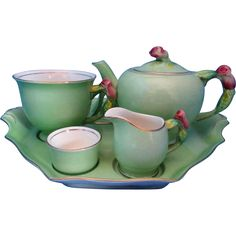 Vintage Royal Winton Green Rosebud Breakfast Set Tea for One Teapot Roses