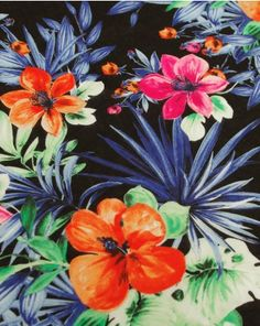 Cotton Lawn Fabric - Tropical Print on Black Cotton Lawn Fabric, Holiday Wear, Black Backgrounds, Vibrant, Tropical, Pattern, Truro, Painting, Inspiration