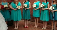 SARAH COMMENTED ON MAY 14, 2013:  Got hitched on Saturday and my girls rocked it in mismatched For her and for him teal/turquoise/seafoam dresses! thanks, guys, for a beautiful product at an awesome price!