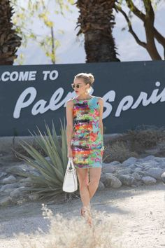Palm Springs Style: Behind the Gate | Reign Magazine Milly dress at vintage Welcome to Palm Springs sign in Palm Springs Fashion Shoot  | Reign Magazine, Photo by Jody Zorn