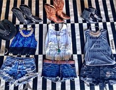 Ashley Zarlin Flat Lay #stagecoach outfits. Outfit inspiration ft. Whiskey Bent and Hellbound Tank.  www.licensetoboot.com $38