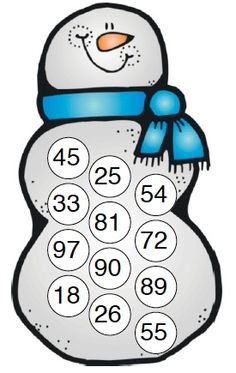 Here's a snowman themed game for practicing place value concepts.