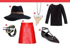 Lou Doillon's Seamless Style (1) Jenny Bird - Lake Como Fedora, $143 (2) Givenchy - Shark Tooth Necklace, $911 (3) J.Crew - Stretch Suiting Tee, $60 (4) Valentino - Glitter Flat, $1,290 (5) Marni - A-Line Leather Skirt, $903 (6) Reed Krakoff - Toggle Ring, $390