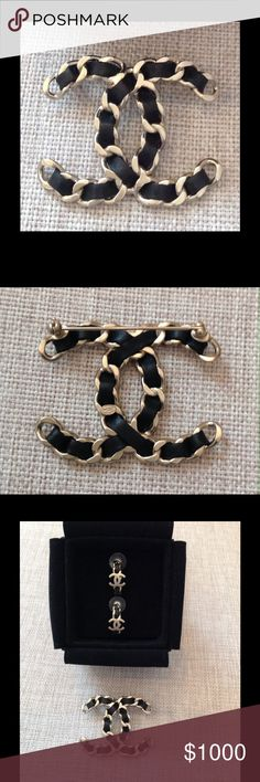 CHANEL brooch Authentic CHANEL XL brooch.  Light gold-tone metal and black leather. perfect match for your favorite Chanel bag with light gold-tone hardware. Universal Chanel look. Timeless. Also have matching earrings. Stunning set!  Never been worn.  Brand new and in MINT condition! CHANEL Jewelry Brooches