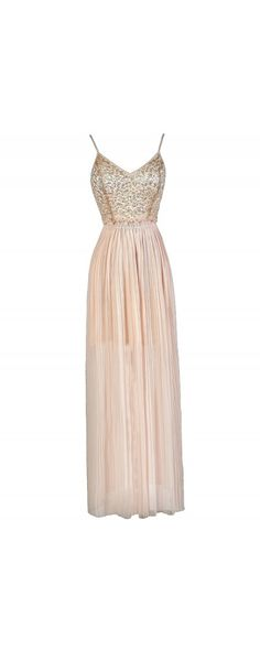 Sequin Web Open Back Maxi Dress in Champagne Blush www.lilyboutique.com