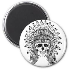 #Tribal style gothic skull with feather crown Graph Magnet - #WeddingMagnets #Wedding #Magnets Wedding Magnets