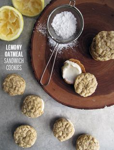 Lemony Oatmeal Sandwich Cookies (makes about 24 mini sandwiches)  Recipe adapted from Betty via these guys