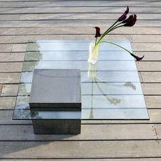 BA-TABELL salongbord, en monolitt av betong og glass - deco og design Concrete, Wood, Glass, Inspiration, Design, Home Decor, Home, Biblical Inspiration, Decoration Home
