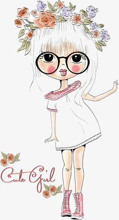 Une fille belle Gratuit PNG et Vecteur Illustration Mignonne, Illustration Girl, Girl Illustrations, Girl Cartoon, Cute Cartoon, Art Fantaisiste, Art Mignon, Digi Stamps, Cute Images